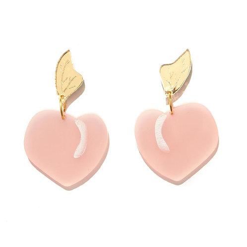 Emeldo- Peach Earrings / Pink + Gold