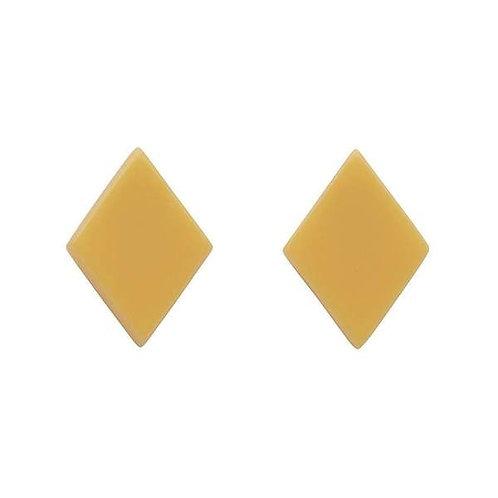 Erstwilder- Diamond Solid  Resin Light Yellow Stud Earrings.