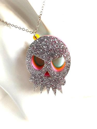 Steven Shein- Silver Glitter Skull Pendent Necklace