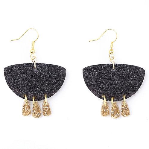 Emeldo - WS Giselle Earrings / Black + Gold