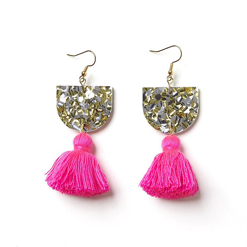 Emeldo Annie Earrings // Gold & Silver with Barbie Pink