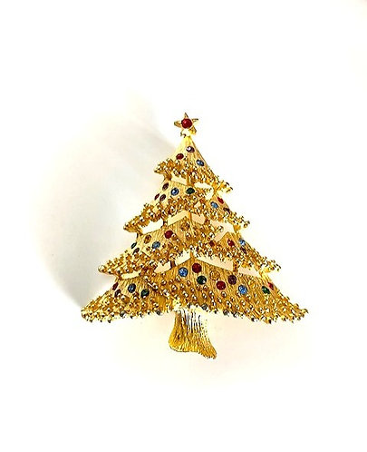 Vintage 'JJ Jonette' Christmas Tree Brooch