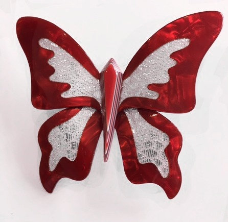 Lea Stein Red Butterfly Brooch