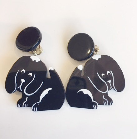 Pavone (France) Signed Galalith Hand-Painted Puppy Earrings