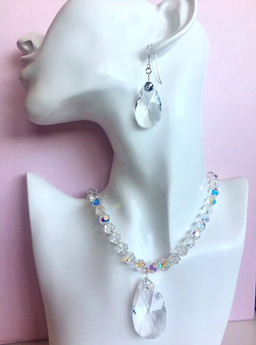 Melina Designs- Swarovski Crystal Pear Drop Necklance & Earrings