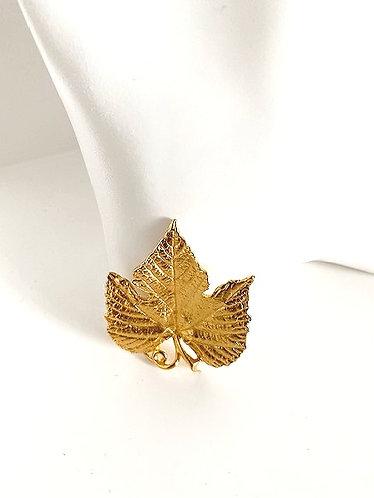 Trifari- Gold Maple Leaf Brooch 1960's