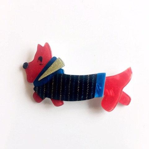 Lea Stein Paris Socks Soknia Terrier Dog Brooch