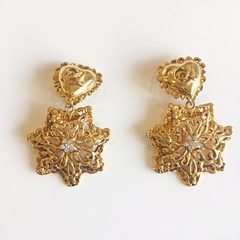CHRISTIAN LACROIX Clip-on Flower Puff Heart Earrings Gold Filigree