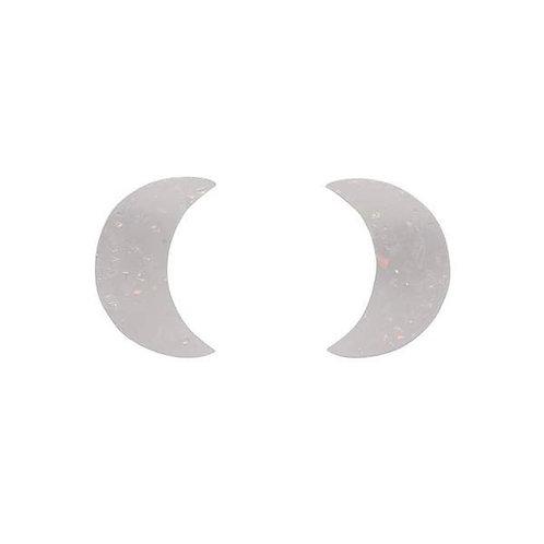 Erstwilder- Crescent Moon Solid Glitter Resin Stud Earrings - White