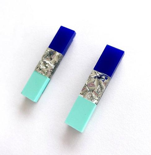 Each To Own Split Bar Drop Stud  - Cobalt Blue, Silver Glitter