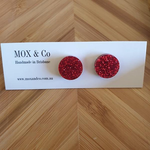 Mox and Co Dot Studs - Red Glitter