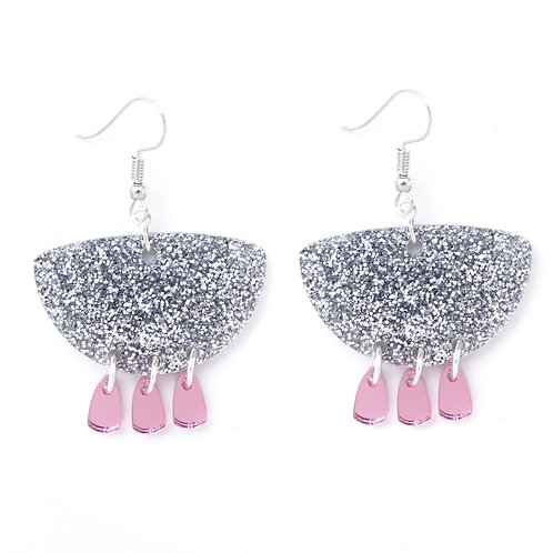 Emeldo Giselle Earrings- Silver and Pink