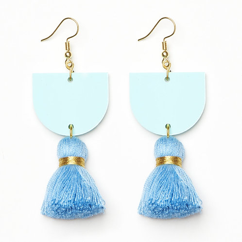 Emeldo Annie Earrings / Turquoise Green/Blue with Blue + Gold