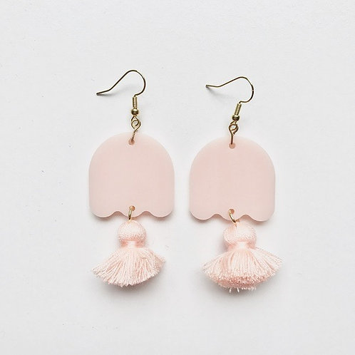 Emeldo Pastel Ghost Earrings / Baby Pink With Peach Tassel