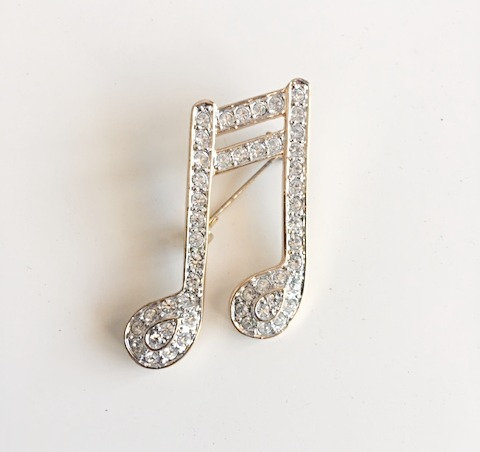 Signed Roman Clear Rhinestone Musical Note Brooch
