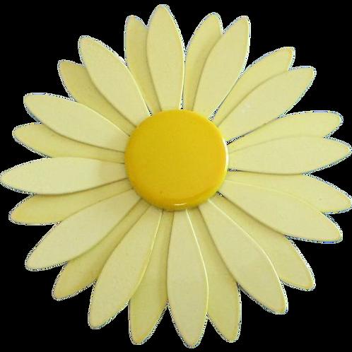 Large Buttery Yellow Enamel Flower Pin