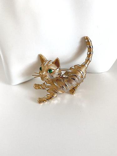 Trifari-  Vintage Tiger Cat Brooch