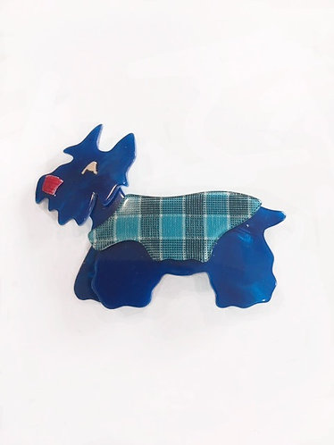 "Lea Stein Blue 'Kimdoo"" Dog Brooch"