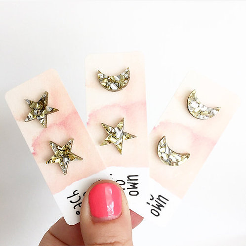 Each To Own Half Moon Silver Glitter Studs