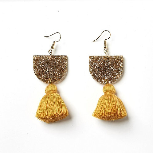 Emeldo Annie Earrings / Gold Glitter with Mustard