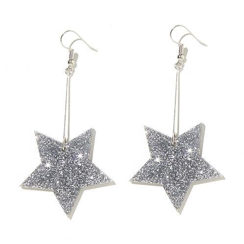 Emeldo Glitter Star Drop Earrings- Silver