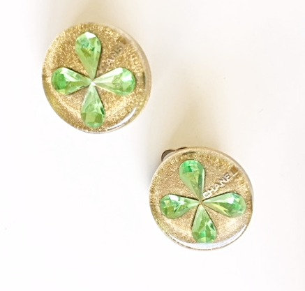 Chanel Clover/Gold Glitter Earrings
