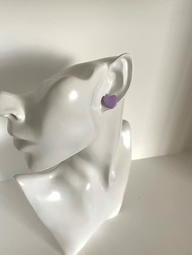 Chiara's Treasures- Lilac Polymer Clay Heart Stud Earrings