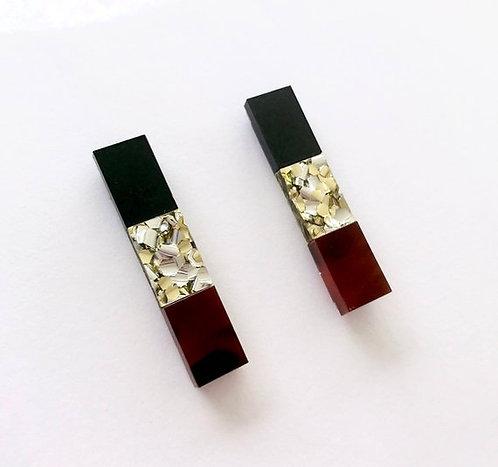 Each To Own-Split Bar Drop Stud Earrings Matt Black Gold Tortoiseshell