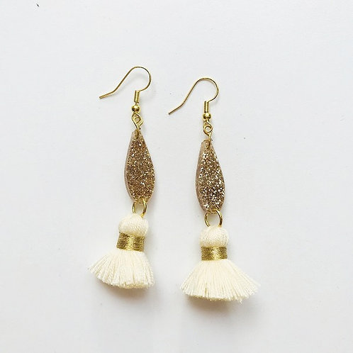 Emeldo- Bebe Bowie Earrings / Gold Glitter +Cream