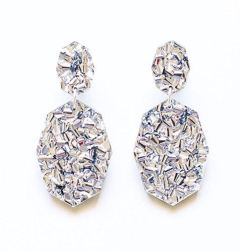 EachTo Own- Silver Glitter Geometric Drop Earrings
