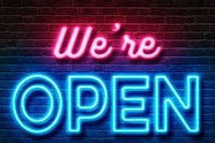 """""""We're open"""" neon sign"""