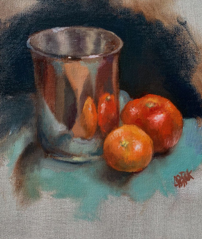 Reflected Fruit ( 2 hour still life study)