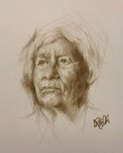 Portrait Drawing in Sketchbook