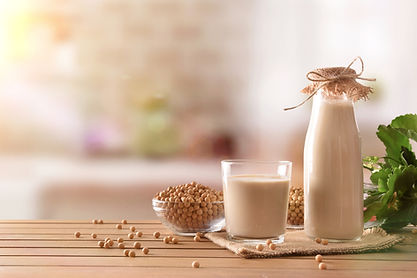 Reptientes with soy milk and grains on a