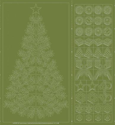 #QH109 'Seasons Greetings' Christmas sashiko panel GREEN