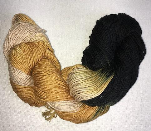 shade C - thick sashiko thread 180m skein black/beige/mustard varigated