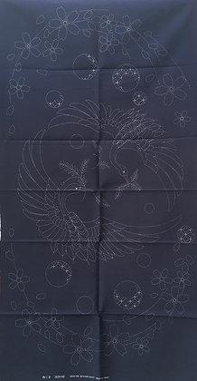 'Cranes with Cherry Blossoms' sashiko panel INDIGO