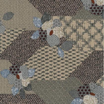 'Sekuta' TAUPE Japanese patchwork print floral