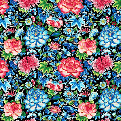 Black Ming cotton print, Silk Road Collection by the half metre
