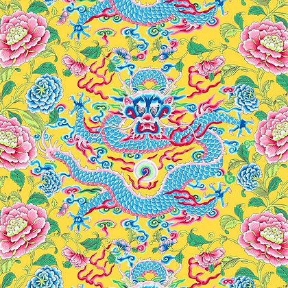 Yellow Dragons cotton print, Silk Road Collection yardage or panel