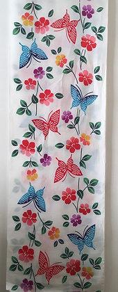 #YU014 vintage yukata cotton multi butterflies on white