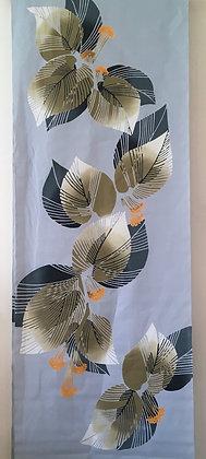 #YU003 vintage yukata cotton leaves on light grey