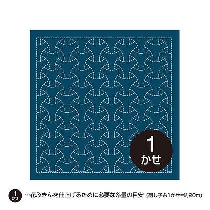 #H-2015 sashiko hanafukin panel 'maru bishamon' traditional pattern - blue