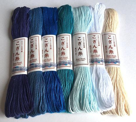 Kogin thread set x 7 'aoyama' blue mountain