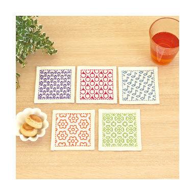 #SK315  hitomezashi sashiko coaster kit on cream