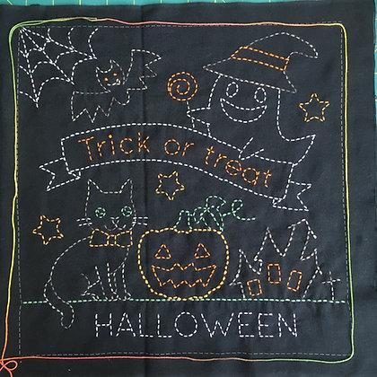 #H-9023 'Halloween' black sashiko hanafukin KIT