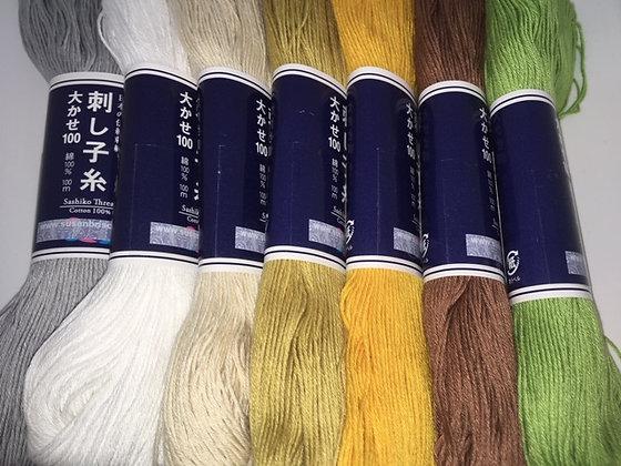 ALL THE COLOURS MEGA gift pack! 14 x 100m plain sashiko threads + 2 needles