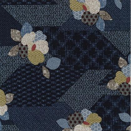 'Sekuta' INDIGO BLUE Japanese patchwork print floral