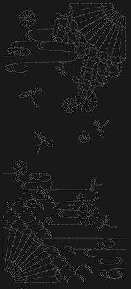'Autumn Sky' sashiko panel BLACK