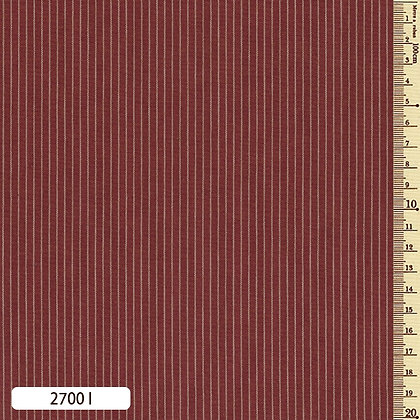 2700I striped shima momen cotton brick red by the half metre
